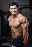 Formation belle de bodybuilder dans les haltères sexy d'ascenseur d'homme de gymnase Image libre de droits