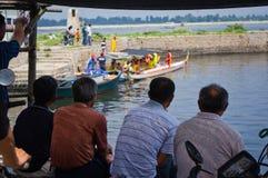 Formation chinoise de bateau de dragon Photo libre de droits