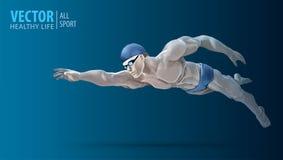Formation convenable de nageur dans la piscine Nageur masculin professionnel à l'intérieur de piscine Course de papillon Un homme Images stock