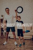 Formation d'And Son Boxing de père famille de sport photo stock