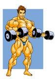 Formation de Bodybuilder avec des haltères Images stock