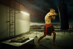 Formation de boxe de jeune homme, sur la maison au-dessus de la ville photos stock