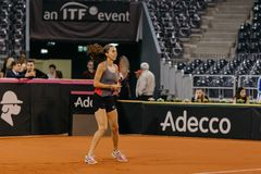 Formation de Buzarnescu Mihaela chez Fed Cup Roumanie 2018 Photographie stock libre de droits