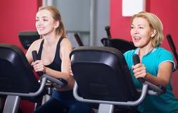 Formation de femme et de fille sur des vélos d'exercice Photo stock