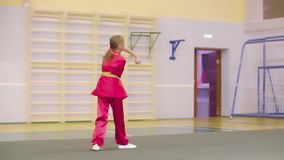 Formation de jeune fille de Wushu avec la lance, arts martiaux clips vidéos
