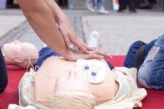 Formation de premiers soins CPR Defibrillation Photo libre de droits
