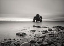 Formation de roche en eau peu profonde en noir et blanc image libre de droits