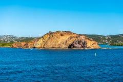 Formation de roche en mer des Caraïbes Photographie stock