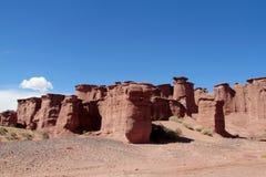 Formation de roche rouge de Talampaya images stock
