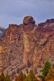 Formation de roche de visage de singe chez Smith Rock State Park en Orégon central photo stock