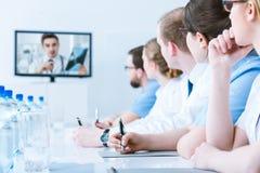 Formation de spécialistes en ligne pour de futurs radiologues Image stock
