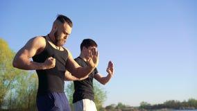 Formation de Wing Chun entre le maître et le disciple sur le fond de ciel 4K clips vidéos