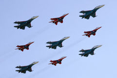 Formation Dimond=Russian Knights+Strizhi Stock Images