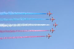 Formation flight Red Arrows stock photography