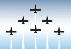 Formation flying. Illustration of jets flying in formation. Available as vector or .jpg file Stock Photography