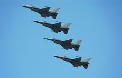 Formation of four F-16 jets Stock Images