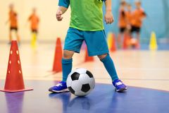 Formation futsal du football pour des enfants Foret de ruissellement de cône de formation du football Photo libre de droits