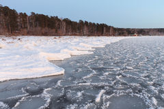 Formation of ice on the river in the fall Stock Photography