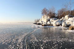 Formation of ice on the river in the fall, River Ob, Russia Royalty Free Stock Photo