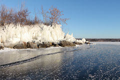 Formation of ice on the river in the fall, River Ob, Russia Stock Photos