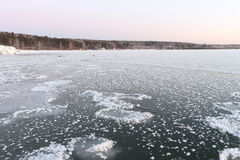 Formation of ice on the river in the winteri, Rver Ob, Russia Stock Image