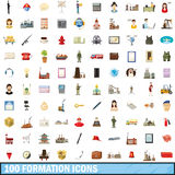 100 formation icons set, cartoon style Stock Images