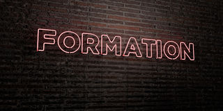 FORMATION -Realistic Neon Sign on Brick Wall background - 3D rendered royalty free stock image Stock Photos