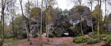 Formation rocheuse dans les roches steny de Tiske dans le piskovce de Labske Photo stock
