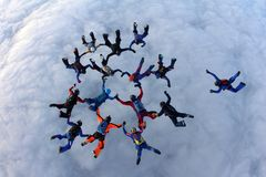 Formation skydiving.A big group of skydivers is in the sky above white clouds. stock images