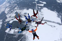 Formation skydiving. A group of skydivers are doing a figure in the sky. royalty free stock photography