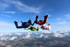 Formation skydiving. Side view of the formation royalty free stock photography