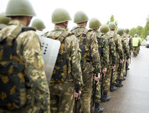 Formation of soldiers of internal troops Stock Photos