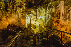 Formation of stalagmites and stalactites in the caves. Of Frasassi, Marche, Italy stock photography