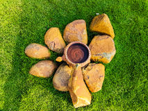 Formation. A stony formation in middle of Lawn Royalty Free Stock Photos