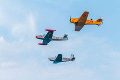 Formation of three aircraft of the FIO. CADIZ, SPAIN-SEP 09:  Formation of three aircraft of the FIO taking part in an exhibition on the 5th airshow of Cadiz on Stock Image