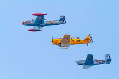 Formation of three aircraft of the FIO. CADIZ, SPAIN-SEP 08:  Formation of three aircraft of the FIO taking part in an exhibition on the 5th airshow of Cadiz on Stock Photography