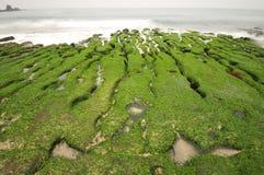 Formation volcanique de récif des criques de marée. Photographie stock libre de droits
