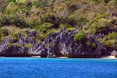 Formations de chaux et cocotiers, île de Sawa-i-Lau, Fidji photos stock