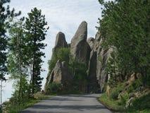 """Formations de roche à l'aiguille \ au """"oeil de s, aiguille \ """"route de s, le Dakota du Sud photographie stock libre de droits"""