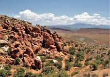 Formations de roche au parc national de voûtes en Utah Photographie stock