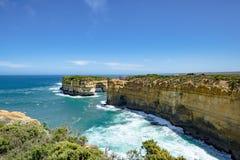 Formations de roche dans des apôtres de la baie douze, Australie, lumière de matin aux apôtres de la formation de roche douze Photographie stock libre de droits