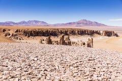 Formations de roche dans la réserve nationale de flamenco de visibilité directe image libre de droits