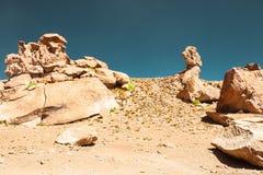 Formations de roche dans le désert sur le plateau Altiplano, Bolivie photographie stock libre de droits