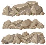 Formations de roche dans trois modèles illustration de vecteur