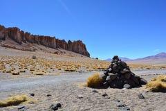 Formations de roche de Salar de Tara au désert d'Atacama, Bolivie Photo libre de droits