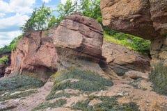 Formations de roche en place de mer aux roches de Hopewell photo stock