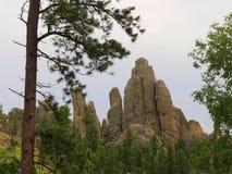Formations de roche, route d'aiguilles, le Dakota du Sud photos stock