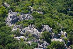Formations de roche sur le flanc de coteau Images libres de droits