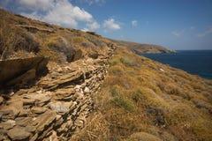 Formations de roche uniques sur le Grias Pidima, Andros, Grèce de plage photo libre de droits