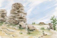 Formations de roches d'imagination Yorkshire, R-U illustration stock